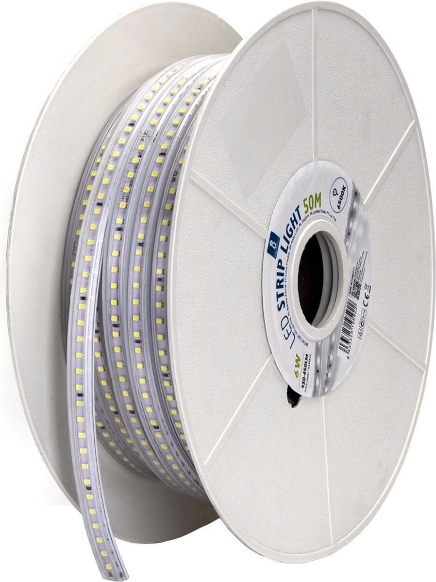 LED Strip - Aigi Stribo - 50 Meter - Dimbaar - IP65 Waterdicht - Helder/Koud Wit 6500K - 2835 SMD 230V