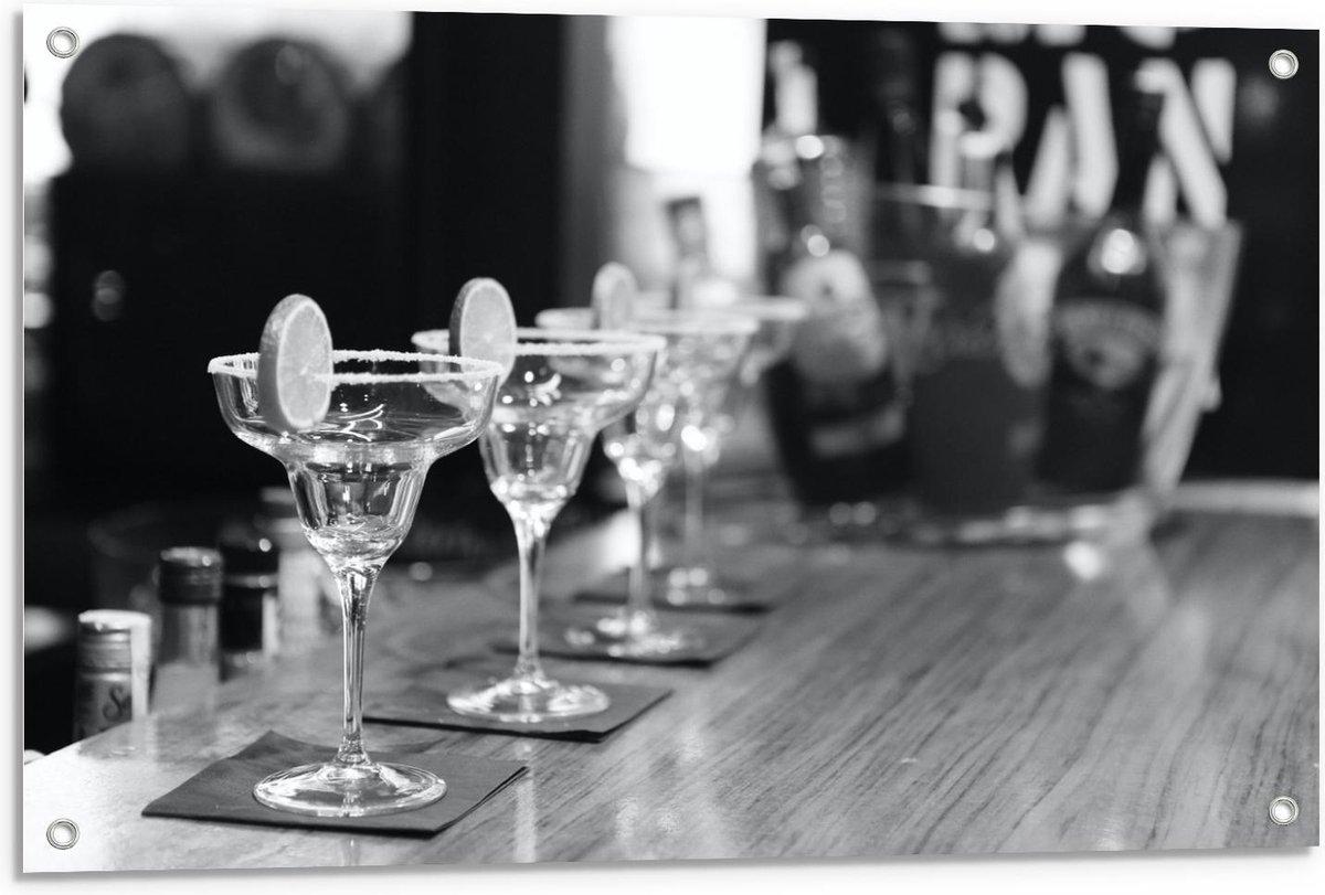 Tuinposter – Cocktailglazen op de Bar (zwart/wit) - 90x60cm Foto op Tuinposter  (wanddecoratie voor buiten en binnen)