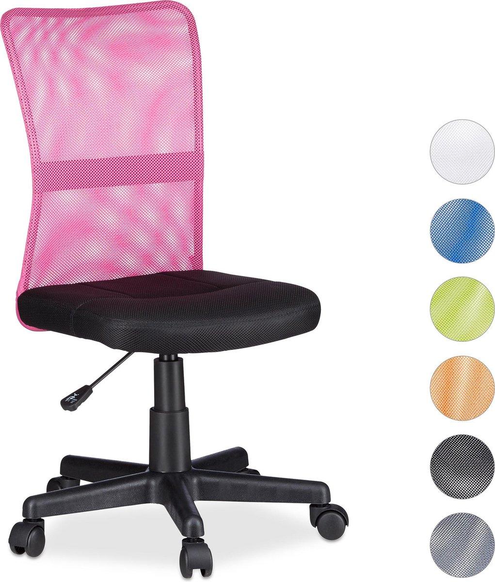 Relaxdays Bureaustoel voor kinderen - Ergonomisch - 90kg - Roze