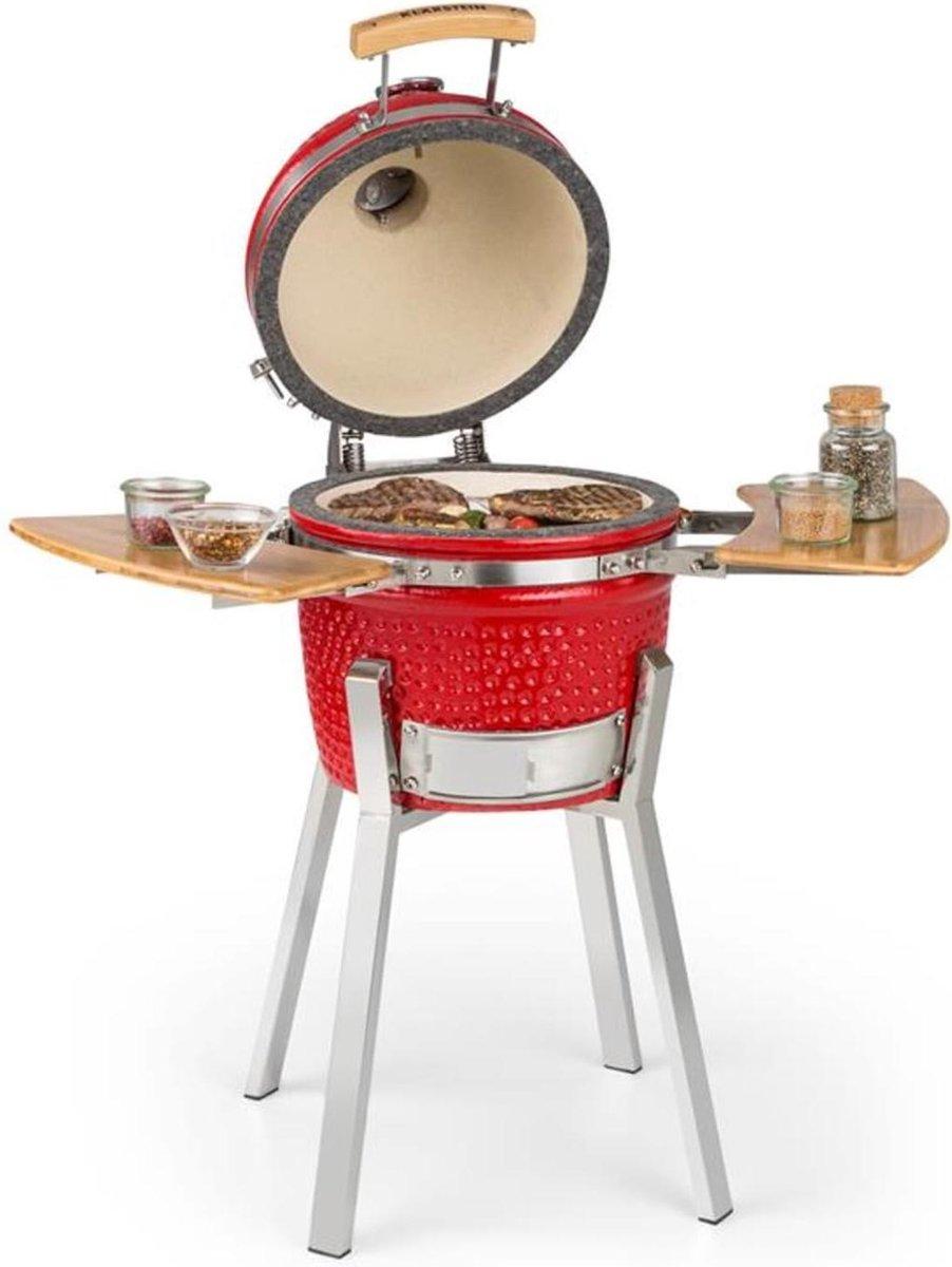 """Klarstein Princesize Pro kamado-barbecue 13"""" (33cm) , Thermometer van 0 - 425 °C in de deksel , Roestvrij stalen bbq rooster: ca. 26 cm , ijstukken , rood"""