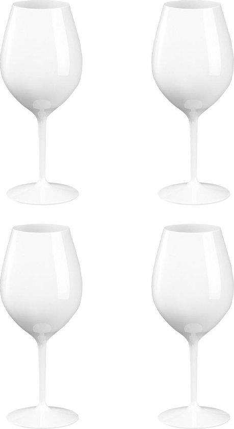 4x Witte of rode wijn wijnglazen 51 cl/510 ml van onbreekbaar / herbruikbaar wit kunststof - Wijnen wijnliefhebbers drinkglazen - Wijn drinken