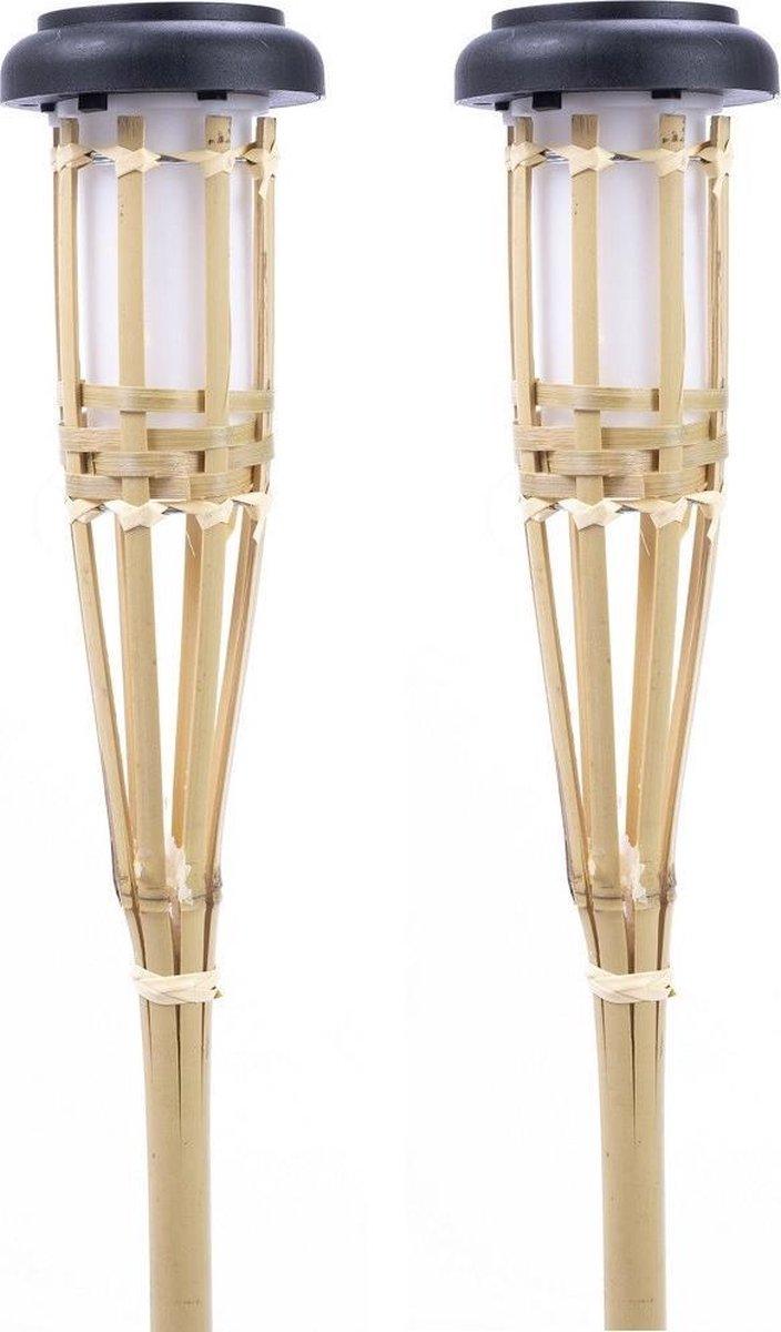 12x Solar fakkels/toortsen vlam effect bamboe tuinverlichting 26 cm - Tuinverlichting - Solar/zonne-energie lamp voor in de tuin