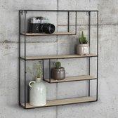 LIFA LIVING Vintage Wandrek - Rechthoek - 4 planken - Hout - Metaal - Zwart - 55 x 45 x 11 cm