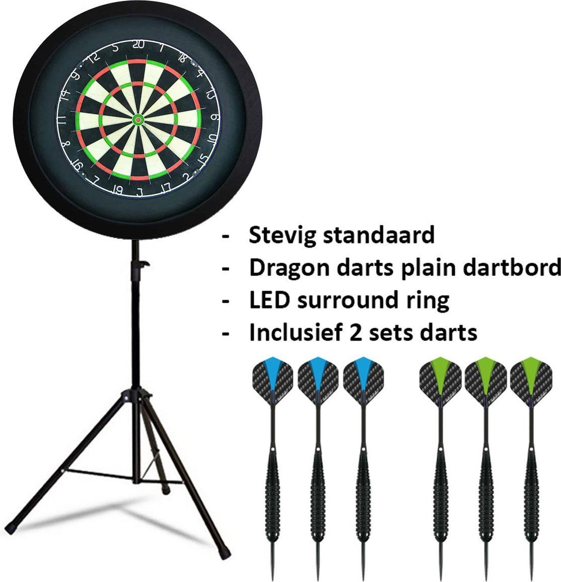 Dragon darts - Portable dartbord standaard LED pakket plus - inclusief best geteste - dartbord - LED surround ring - en - dartpijlen - zwart