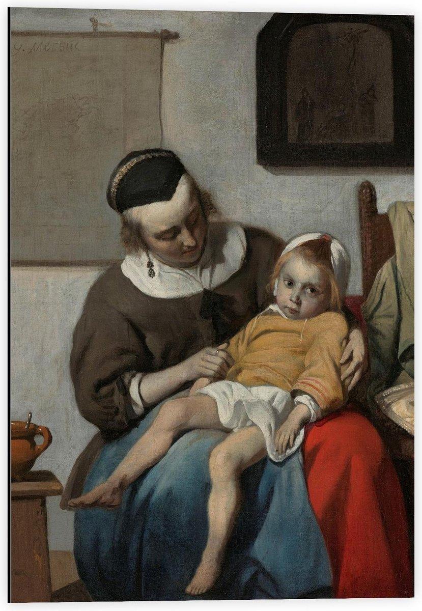 Dibond - Oude meesters - Het zieke kind, Gabriël Metsu, ca. 1664 - ca. 1666 - 40x60cm Foto op Aluminium (Met Ophangsysteem)