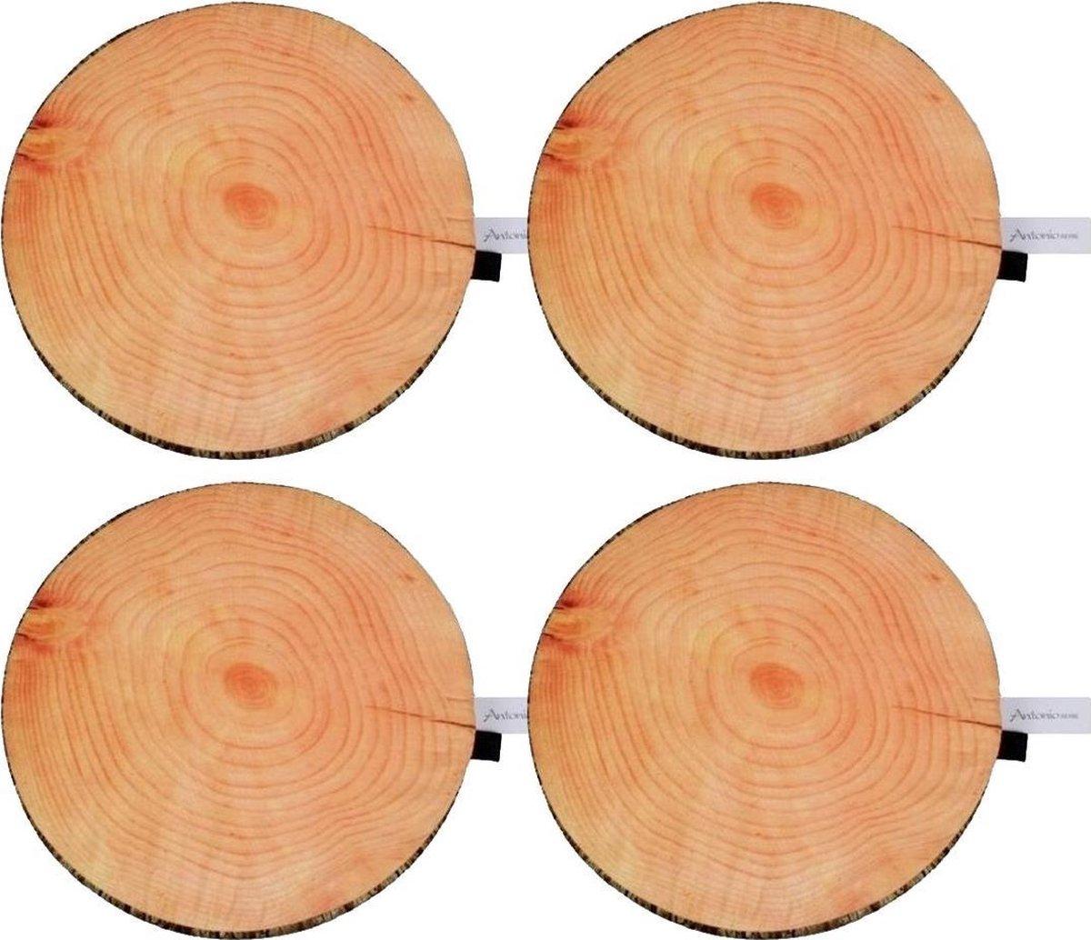 Set van 10x stuks Es boomstronkschijf/boomschijf kussens 40 cm - boomstronkschijven/boomstamschijven/boomschijven kussens