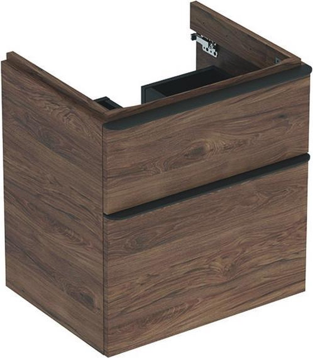 Geberit Smyle wastafelonderkast 2 laden 58,5x62 cm, noten hickory