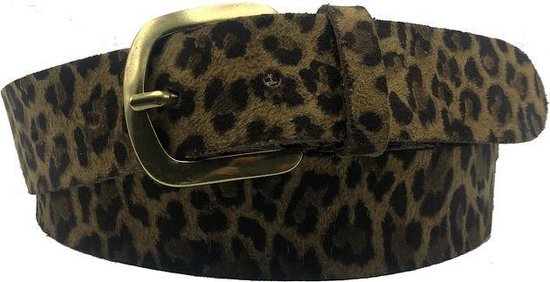 Bruine riem - Leopard V45 Brown  Dames riem - Broekriem Dames - Dames riem -  Dames riemen - heren riem - heren riemen - riem - riemen - Designer riem - luxe