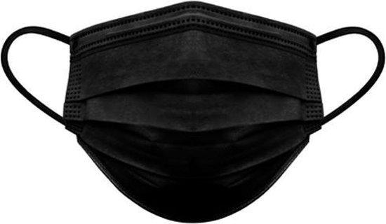 Afbeelding van 50 stuks Zwarte mondkapjes mondmaskers 3 laags met elastiek