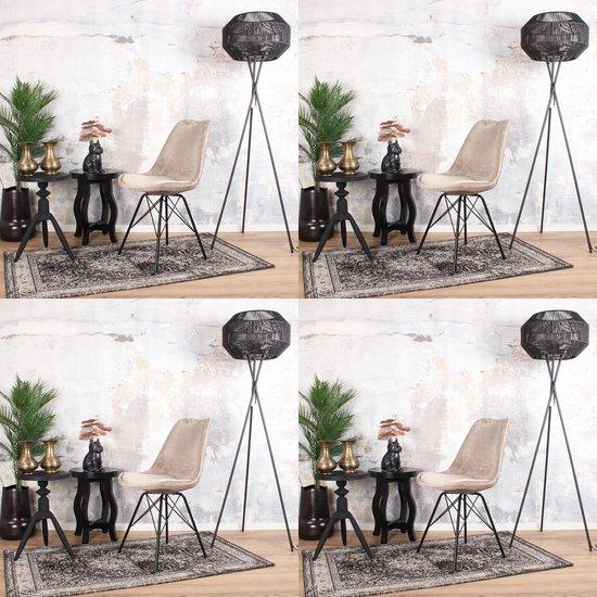 DS4U® velvet kuipstoel - eetkamerstoel - stoel - limited edition - zwart metaal - velours - velvet - stof - champagne - set van 4