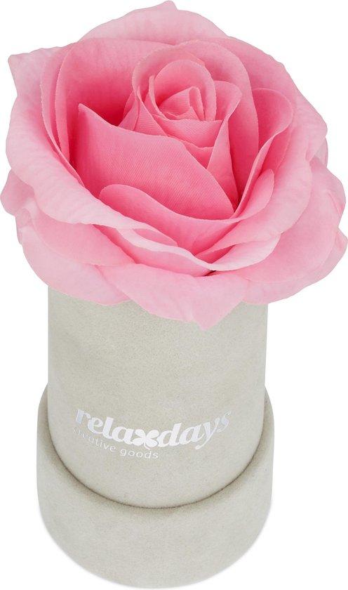 Bol Com Relaxdays Flowerbox Rozenbox Grijs Decoratie Kunstbloem 1 Roos In Box Roze