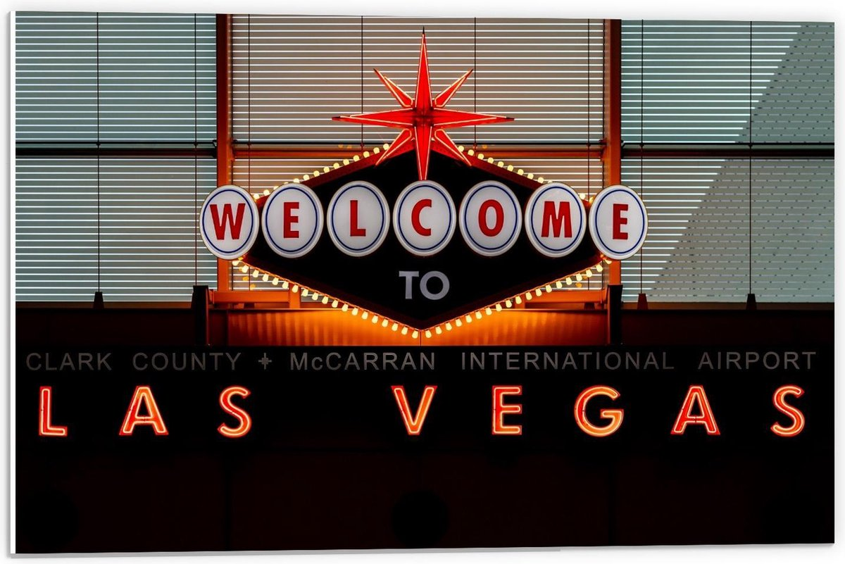 Forex - ''Welcome To Las Vegas'' Bord - 60x40cm Foto op Forex