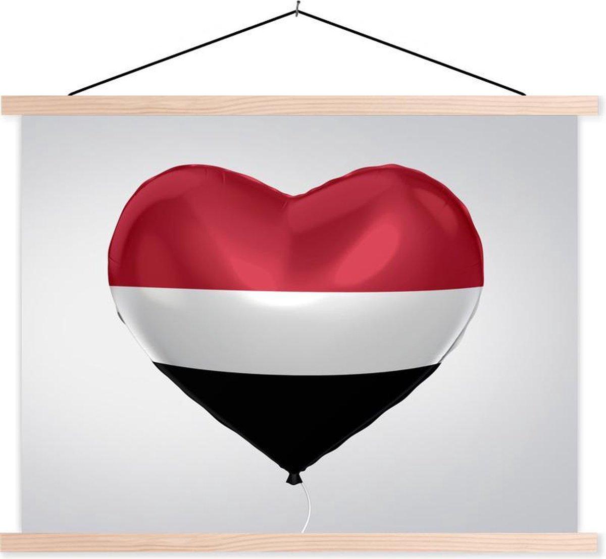 Vlag van Jemen in de vorm van een hart schoolplaat platte latten blank 150x113 cm - Foto print op textielposter (wanddecoratie woonkamer/slaapkamer) - Foto print op schoolplaat (wanddecoratie woonkamer/slaapkamer)