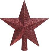 1x Donkerrode glitter kerstboom ster piek van kunststof 19 cm - Kerstboomversiering donkerrood