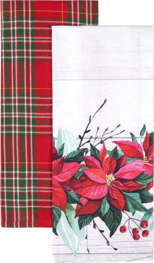 Amo La Casa Theedoek Bloemen 45 X 65 Cm Katoen Wit/rood 2 Stuks