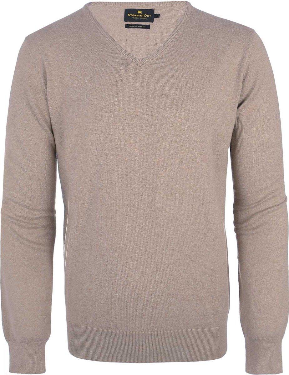 Steppin' Out Mannen Trui Cotton Cashmere v-neck Khaki Katoen Maat: M