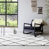 Hoogpolig vloerkleed - Grand Lines Creme/Zwart 120x170cm