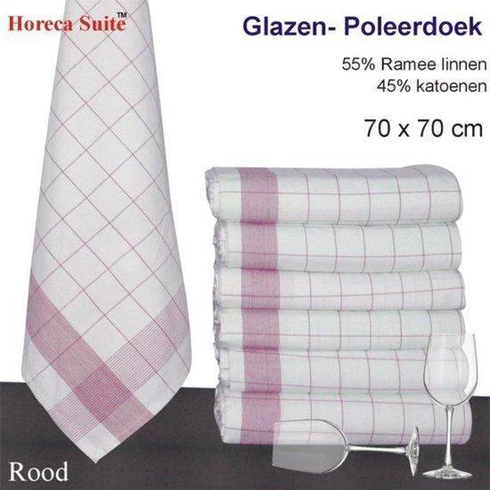 Glazendoeken - Poleerdoeken Rood 50% Ramee linnen 50% katoen - 12 Stuks - 70x70cm
