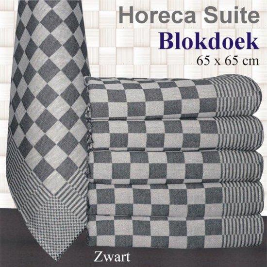 Blokdoeken pompdoeken theedoeken zwart / wit  set van 6 stuks   65x65cm