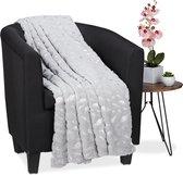 relaxdays Plaid - fleece deken - polyester - grijs - woondeken - veren - sprei - zacht 220x240cm
