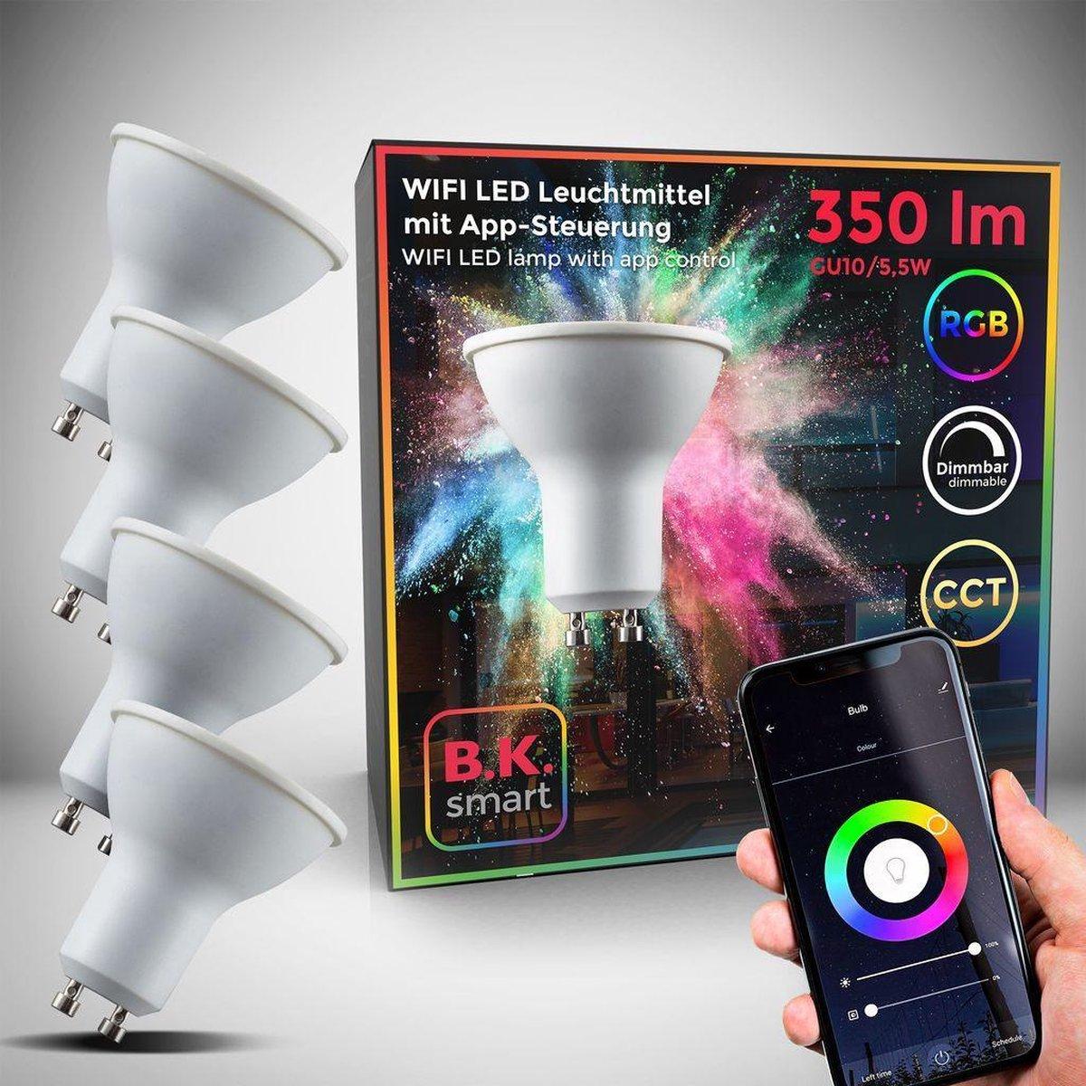 B.K.Licht - Slimme Lichtbron - RGB en CCT - set van 4 - smart lamp - met GU10 - 5.5W LED - WiFi - App - 2.700K to 6.500K - 350 Lm - voice control - color lampjes - LED lamp