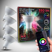 B.K.Licht - smart lamp - smart light - LED WiFi lamp - GU10 - RGB en CCT - voice control - set van 4