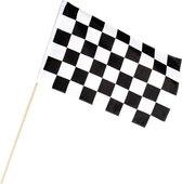 Finish vlag zwaaivlag wit/zwart geblokt 30 x 45 cm - Formule 1 vlag - Race vlaggen