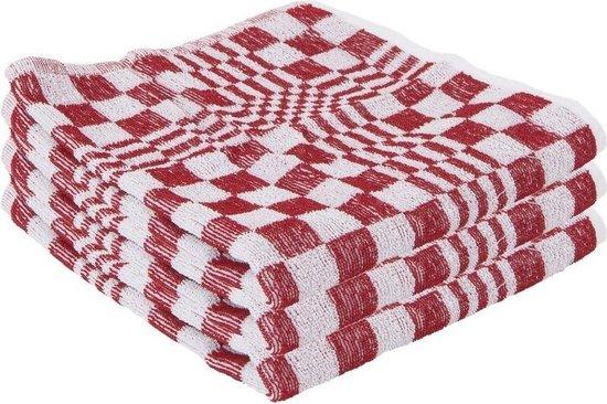 3x Handdoek rood met blokmotief 50 x 50 cm - Huishoudtextiel - keukendoek / handdoekjes