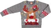 Grijze kersttrui rendier met 3D neus voor kinderen - Foute kersttruien jongens/meisjes - Kerst trui/sweater 116/122 (6/7 jaar)