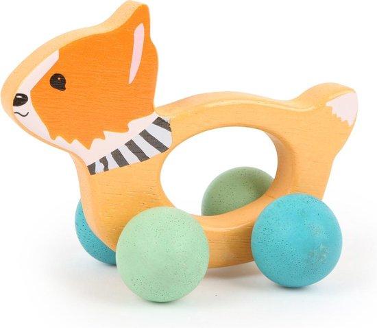 Afbeelding van houten grijpspeelgoed - Lex de vos - op wieltjes - Speelgoed vanaf 0 maanden speelgoed