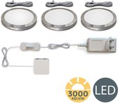 B.K.Licht - Keukenverlichting - LED onderbouwverlichting  - warm wit licht - kastverlichting - keuken verlichting - set van 3