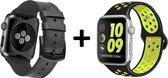 4mobilez Iwatch 1/2/3/4/5 bandjes zwart Leder en Geel sports 42/44 mm