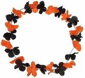6 Hawaii kransen zwart met oranje