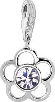 Quiges - 925 Zilver Charm Bedel Hanger Zirkonia Bloem - HC237
