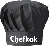 mijncadeautje - koksmuts volwassenen - zwart - Chef Kok