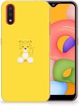Samsung Galaxy A01 Telefoonhoesje met Naam Baby Leopard