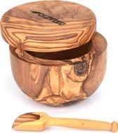 OLIVIEU ~ Luxe Handgemaakte Kruidenpotje van Olijfhout ~  10 cm ⌀ ~ met Magnetische Deksel & Lepel   Uniek Cadeau   Houten Voorraadpot   Houten Zoutpot   Houten Suikerpot