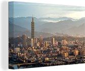 Taiwanese wolkenkrabber in de stad Taipei in de namiddag Canvas 90x60 cm - Foto print op Canvas schilderij (Wanddecoratie woonkamer / slaapkamer)