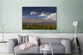Uitkijkend naar de Afrikaanse Mount Kenya in de middag Canvas 180x120 cm - Foto print op Canvas schilderij (Wanddecoratie woonkamer / slaapkamer) XXL / Groot formaat!