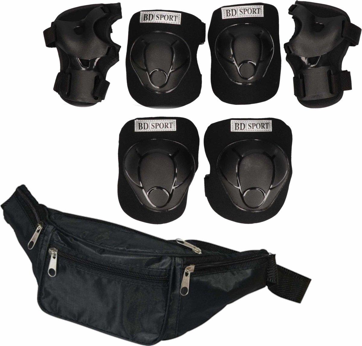 Set van heuptasje zwart 29 cm en valbescherming maat M - 6 tot 8 jaar / kniebeschermers / elleboogbeschermers / polsbeschermers