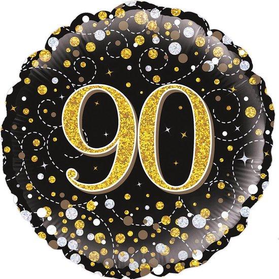 Glitter helium folie-ballon 90 jaar zwart goud.