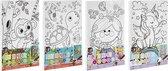 Schilderen op nummer voor kinderen   Thema dieren - Aapje   Afmeting A4   inclusief verf + penseel