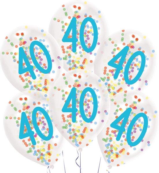 Amscan Ballonnen Confetti 40 Jaar 27,5 Cm Latex Wit 6 Stuks