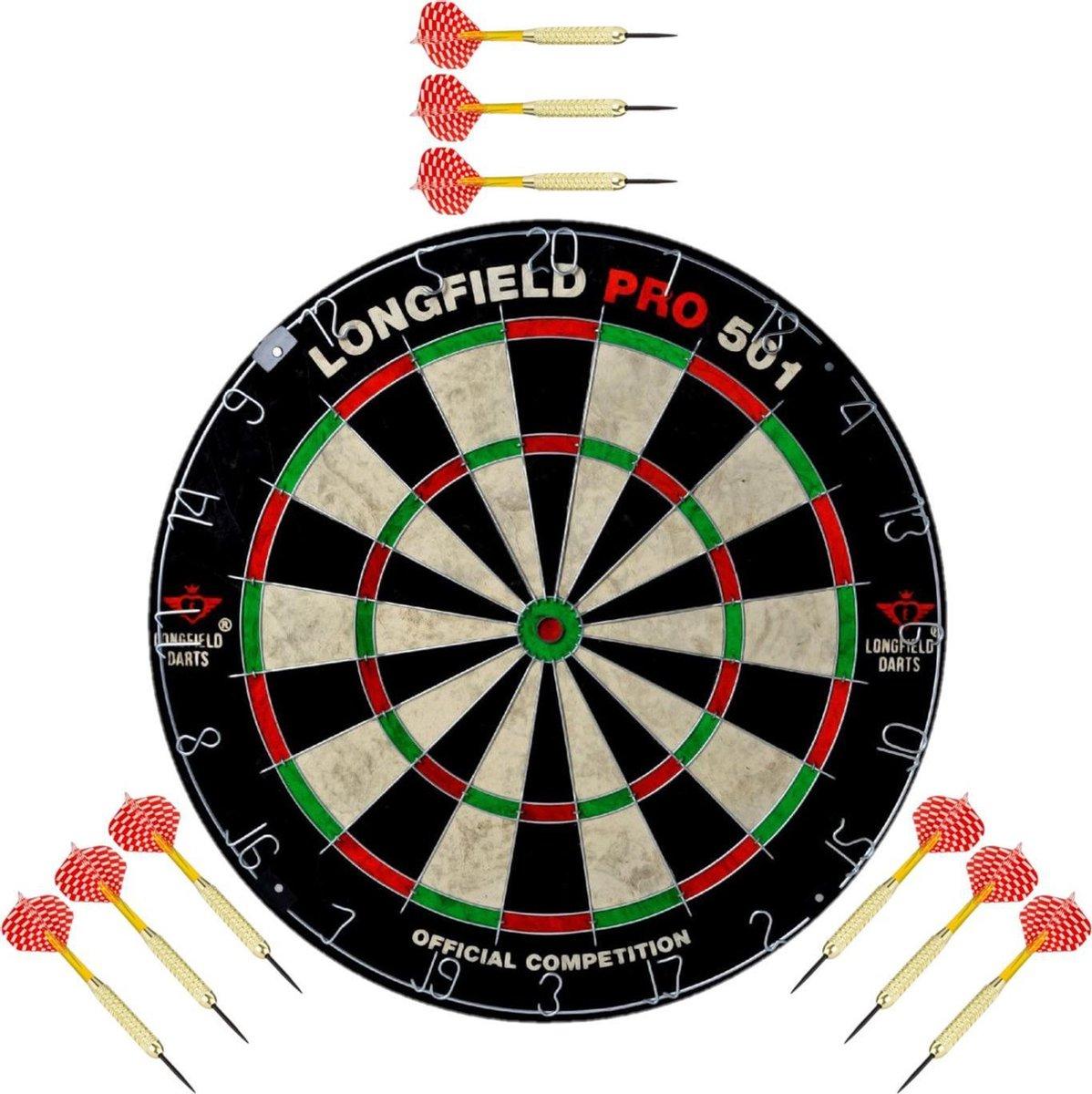 Dartbord set compleet van diameter 45.5 cm met 9x dartpijlen van 22 gram - Longfield professional - Darten