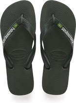 Havaianas Brasil Logo Unisex Slippers - Green Olive - Maat 33/34