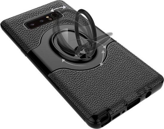 Let op type!! Voor Galaxy Note 8 Dropproof volledige beschermhoes Cover met magnetische draaibare ringhouder (rood)