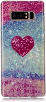 Let op type!! Voor Galaxy Note 8 gekleurde tekening patroon IMD vakmanschap zachte TPU beschermhoes (rood hart)