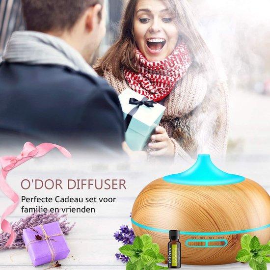 O'dor®  Aroma Diffuser 300 ml Voor Aromatherapie - Inclusief Lemongrass Etherische Olie - Verdamper - Luchtbevochtiger - Vernevelaar - Geur Verspreider - met LED Verlichting - Hout Look