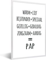 Foto in lijst - Cadeau voor vader - Pap fotolijst wit 40x60 cm - Poster in lijst (Wanddecoratie woonkamer / slaapkamer)