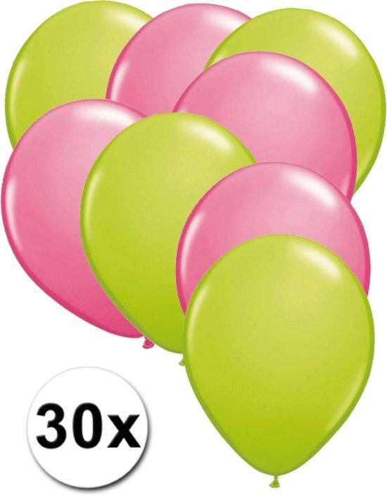 Ballonnen Licht groen & Roze 30 stuks 27 cm